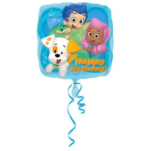 Globo Bubble Guppies HBD - Cuadrado 45cm Foil Poliamida - A2980901