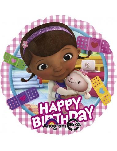 Globos Foil Doctora Juguetes Happy Birthday - Redondo 45cm - A-2753401