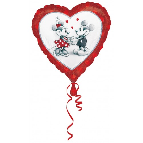 Globo Mickey and Minnie Love Holografico - Corazon 45cm Foil Poliamida - A2804001