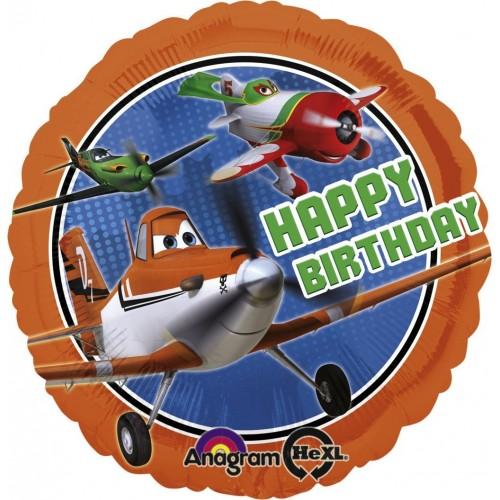 Globo Aviones Happy Birthday - Redondo 45cm Foil Poliamida - A2741401