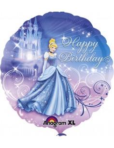 Globos Foil Cenicienta Happy Birthday - Redondo 45cm - A-2481501