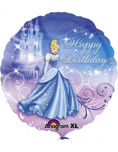 Globos Foil Cenicienta Happy Birthday - Redondo 45cm - A-2481501
