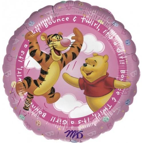 Globo Winnie the Pooh Its A Girl - Redondo 45cm Foil Poliamida - A0960401