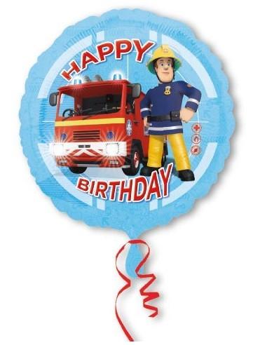 Globos Foil Sam El Bombero Camion Happy Birthday - Redondo 45cm - A-3013201