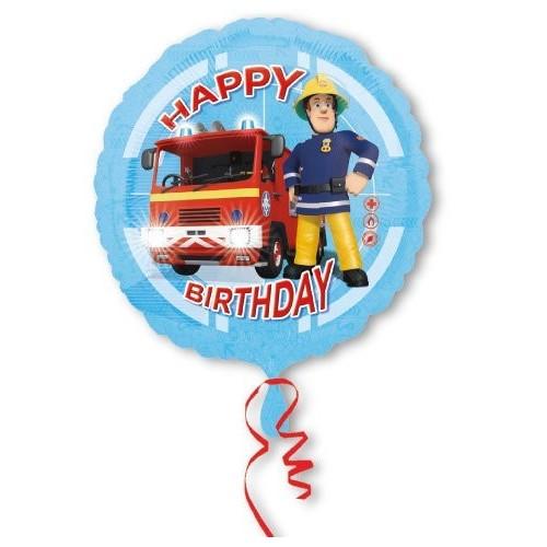 Globo Sam El Bombero Camion Happy Birthday - Redondo 45cm Foil Poliamida - A3013201