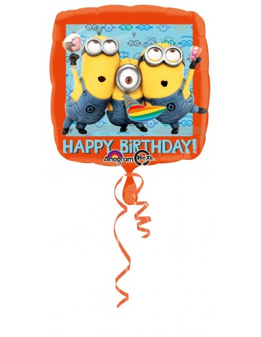 Globos Foil Minions Happy Birthday - Cuadrado 45cm - A-2995301