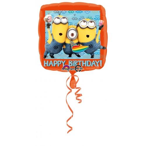 Globo Minions Happy Birthday - Cuadrado 45cm Foil Poliamida - A2995301