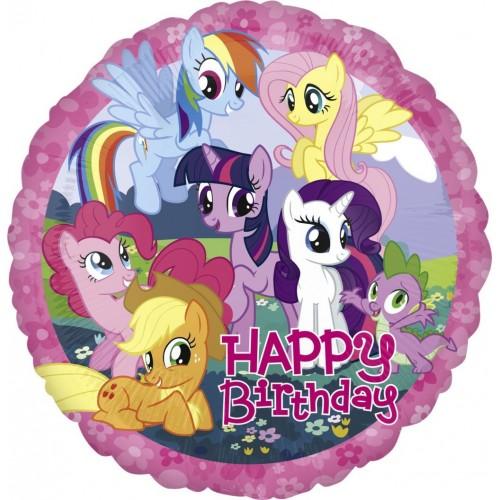 Globo Mi Pequeño Pony Happy Birthday - Redondo 45cm Foil Poliamida - A2708001