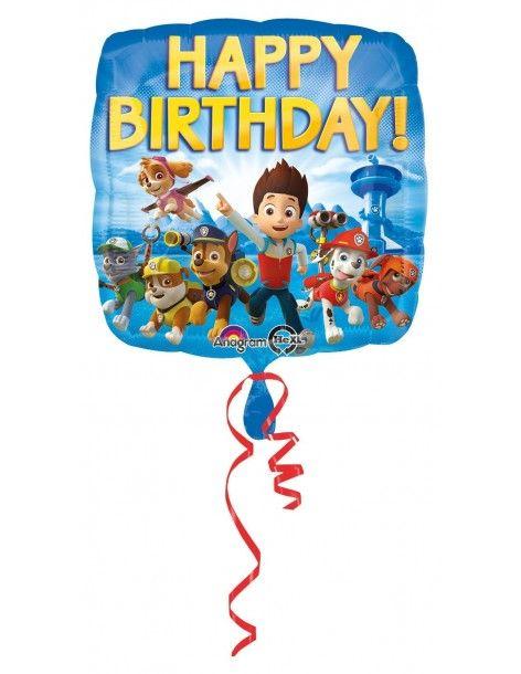 Globos Foil La Patrulla Canina Happy Birthday - Cuadrado 45cm - A-3018001