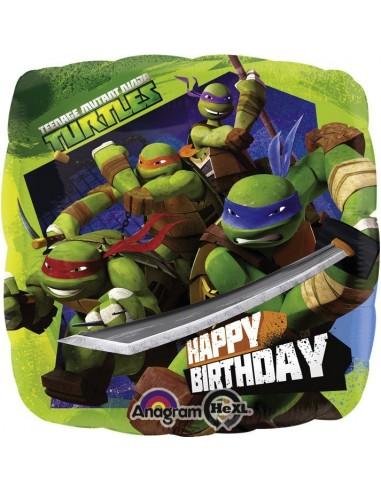 Globos Foil Las Tortugas Ninja Happy Birthday - Cuadrado 45cm - A-2708801