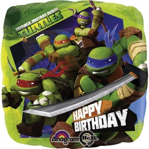Globo Las Tortugas Ninja Happy Birthday - Cuadrado 45cm Foil Poliamida - A2708801