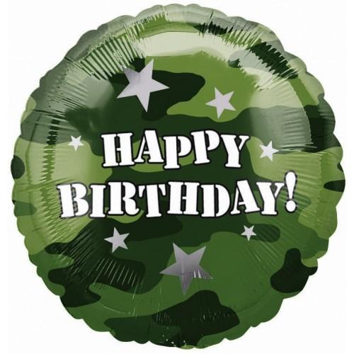 Globo Birthday Camouflage - Redondo 45cm Foil Poliamida - A118128-01