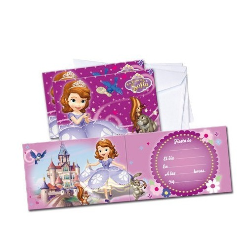 Invitaciones Princesa Sofia de 12x25cm - 6 UDS
