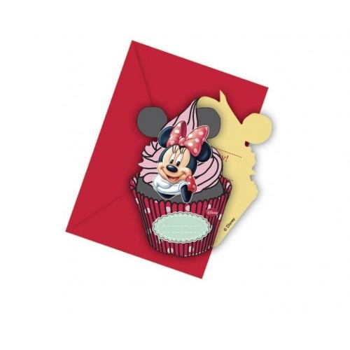 Invitaciones Minnie Mouse Cafe con Sobre - 6 UDS