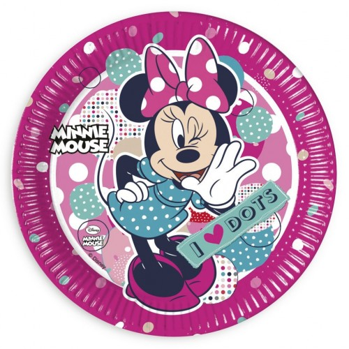 Platos Minnie Mouse Dots de 23cm - 8 UDS