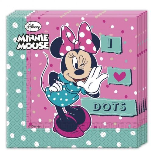 Servilletas Minnie Mouse Dots de 33x33cm - 20 UDS
