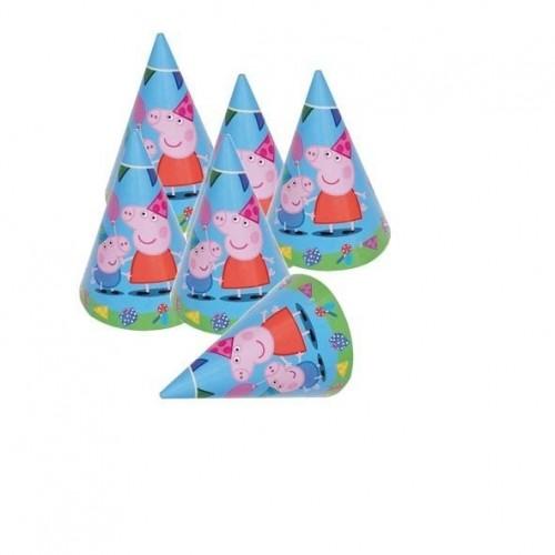 Sombreros de Cono Peppa Pig - 6 UDS