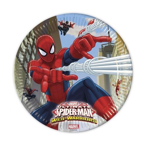Platos Spiderman de 23cm - 8 UDS