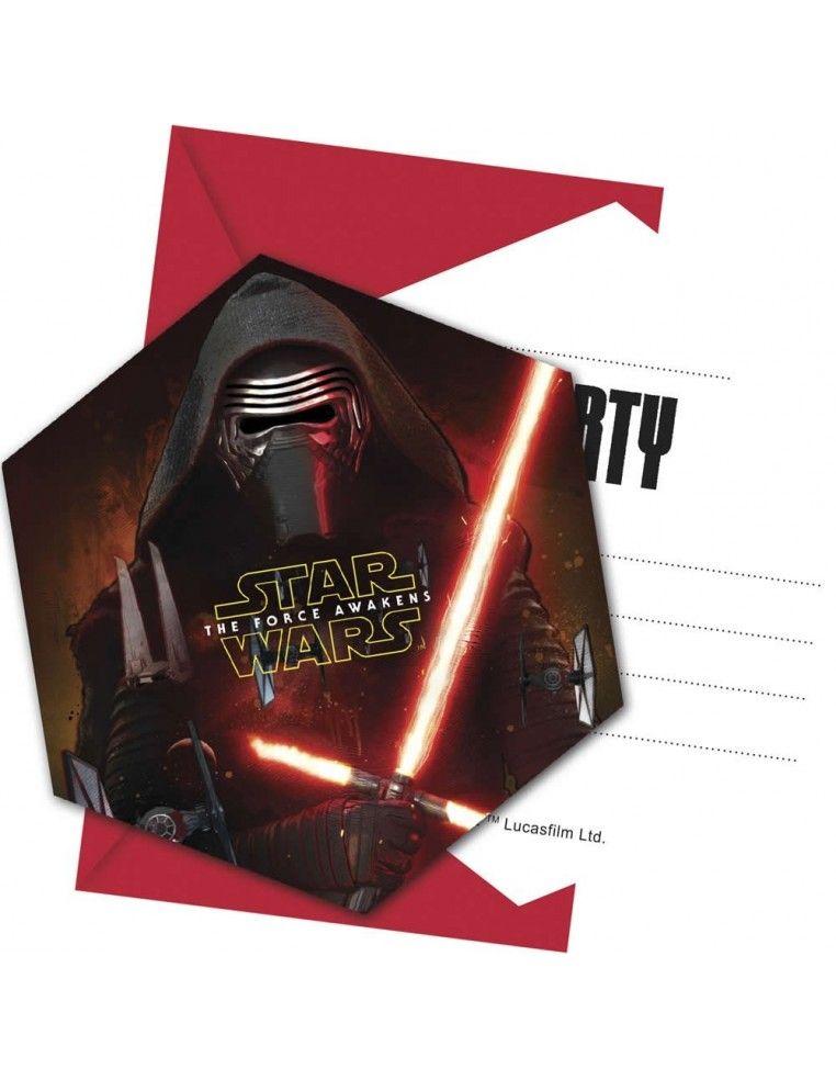 Invitaciones Star Wars The Force Awakens con Sobre