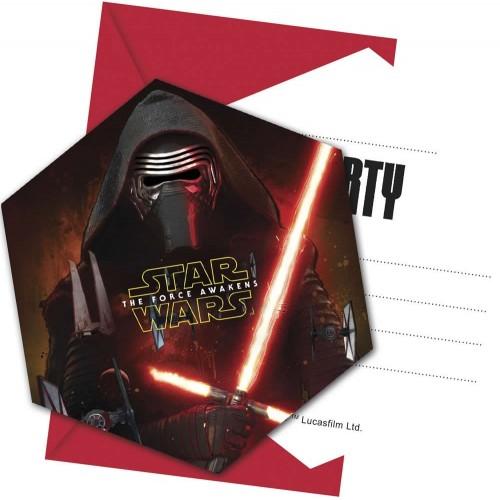 Invitaciones Star Wars The Force Awakens con Sobre - 6 UDS