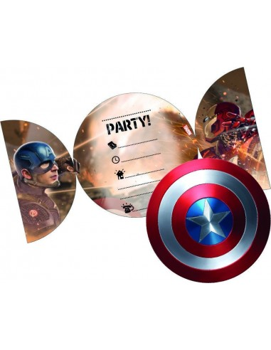 Invitaciones Civil War con Sobre 6 UDS