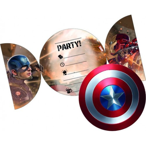 Invitaciones Civil War con Sobre - 6 UDS