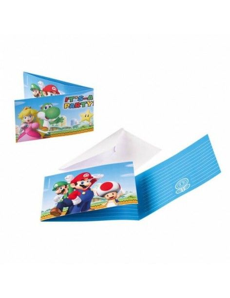 Invitaciones Super Mario con Sobre