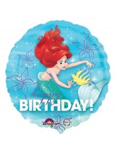 Globo Ariel Sirenita Birthday Redondo 45cm