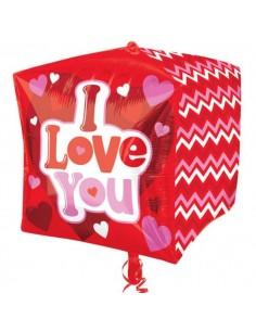Globo Love Hugs and Kisses Cubo 38cm