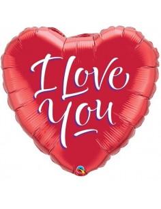 Globo I Love You Script Modern - Corazon 45cm Foil Poliamida - Q29133