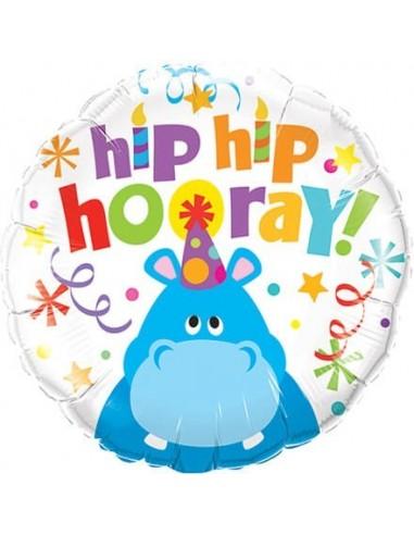 Globo Hip Hip Hooray Hippo - Redondo 45cm Foil Poliamida - Q26481