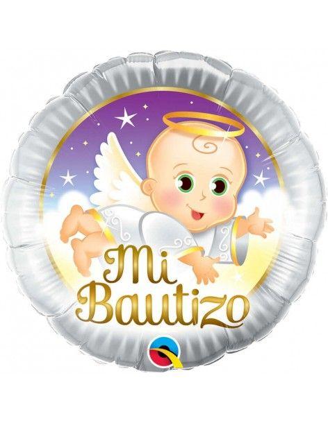 Globo Mi Bautizo Angel Baby Redondo 45cm