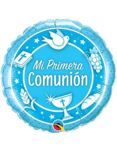 Globo Comunion Azul Redondo 45cm