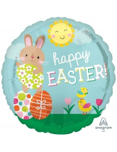 Globo Happy Easter Bunny and Chicks Redondo 45cm