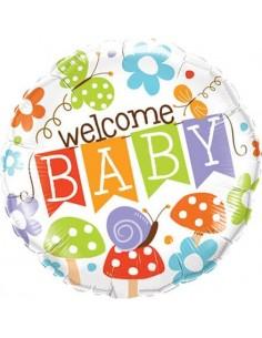 Globo Welcome Baby Banner Garden - Redondo 45cm Foil Poliamida - Q25210
