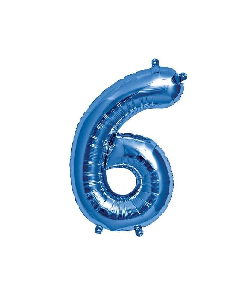 Globo Numero 6 de 41cm Azul - Foil Poliamida - NSB00458