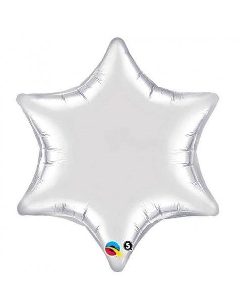Globo Estrella 6 Puntas 55cm Silver - Foil Poliamida - Q19122