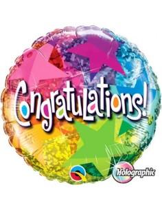 Globo Congratulations Star Patterns - Redondo 45cm Foil Poliamida - Q35412