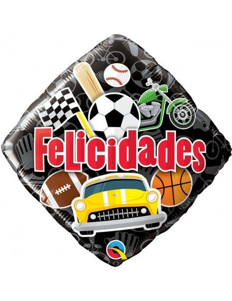Globo Felicidades Masculine Cuadrado 45cm