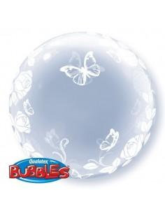 Globo Elegant Roses and Butterflies Deco Bubble Burbuja 60cm Q29718