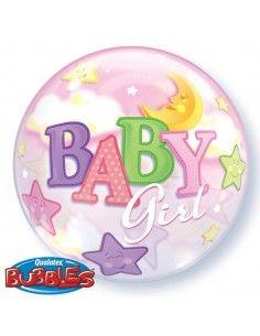 Globo Baby Girl Moon and Stars - Bubble Burbuja 55cm - Q23598