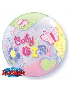 Globo Baby Girl Butterflies - Bubble Burbuja 55cm - Q69729