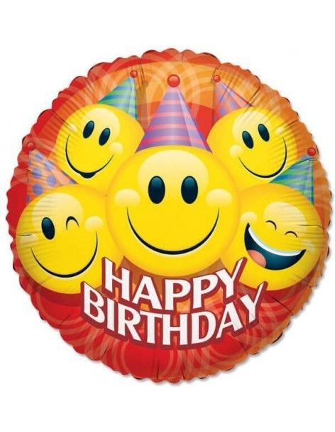 Globo Smiley Feliz Cumpleaños - Redondo 45cm Foil Poliamida - K1774518