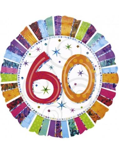 Globo Radiant Birthday 60 - Redondo 45cm Foil Poliamida - A1607201