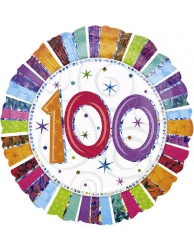 Globo Radiant Birthday 100 - Redondo 45cm Foil Poliamida - A1607601