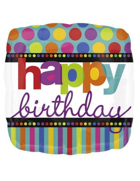 Globo Happy Birthday Dots and Stripes Cuadrado 45cm A11247201