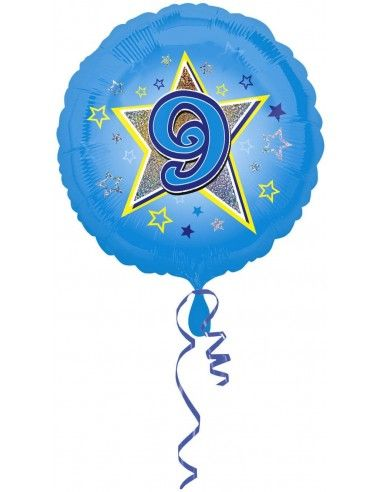 Globo Blue Stars 9 - Redondo 45cm Foil Poliamida - A2954001