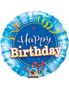 Globo Birthday Bright Blue - Redondo 45cm Foil Poliamida - Q25431
