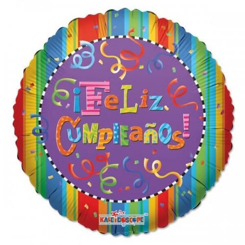 Globo Feliz Cumpleaños Festival Redondo 45cm Foil Poliamida K1902218