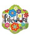 Globo Felicidades Flores - Redondo 45cm Foil Poliamida - K3421418